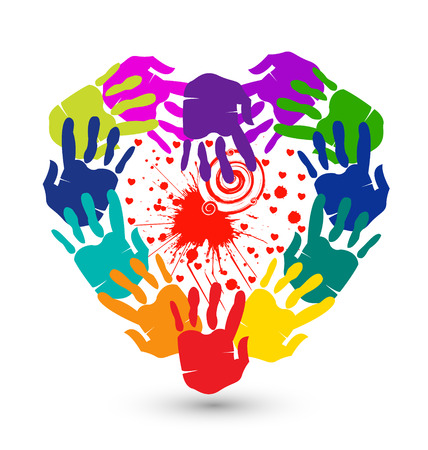 together voluntary: Hands and splash of hearts conceptual icon vector