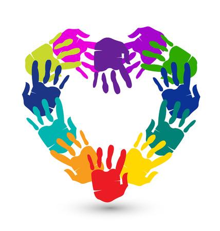 comunidades: Manos en forma de coraz�n conceptual del icono del vector Vectores