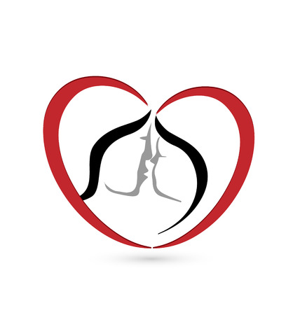 Couple kissing in a heart shape concept icon vector Vector