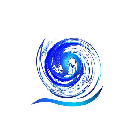 Swirly splash wave water icon vector concept  Illustration