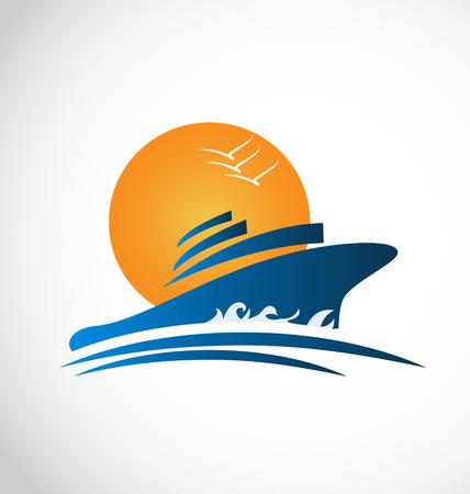 Carte d'identité de soleil bateau de croisière et des vagues vecteur icône Vecteurs
