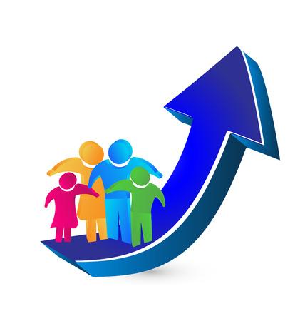 Familia y la flecha del éxito y el crecimiento concepto de icono de vector
