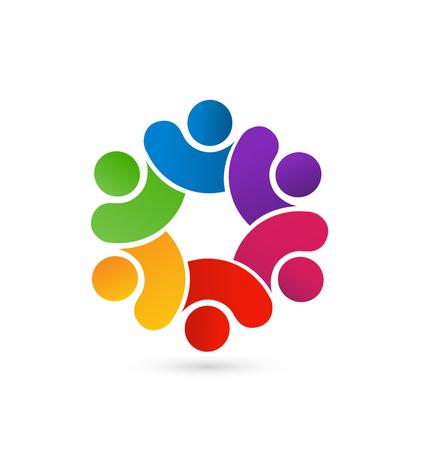 familias unidas: Concepto de tarjeta de identidad en equipo 6 pueblo unido vector icon