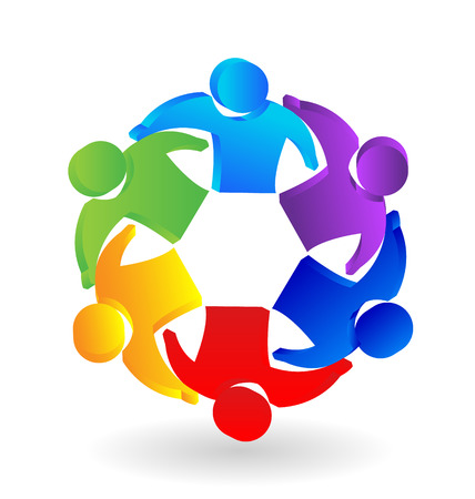 Teamwork 3D people leadership concept icon vector Illustration