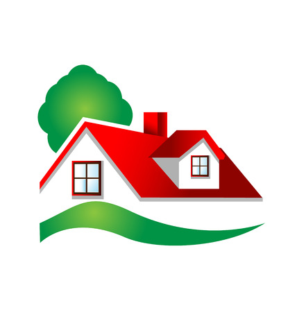 Beautiful red house with tree and swirly garden icon vector Illustration