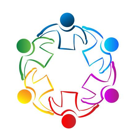 Spotkanie ludzi pracy zespołowej koncepcji tożsamości wektor ikona