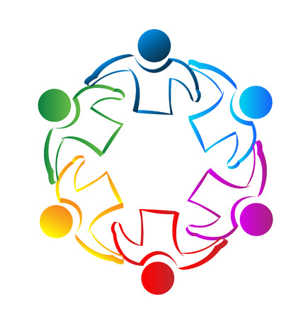 regenbogen: Teamwork vergadering mensen identiteitskaart concept pictogram vector