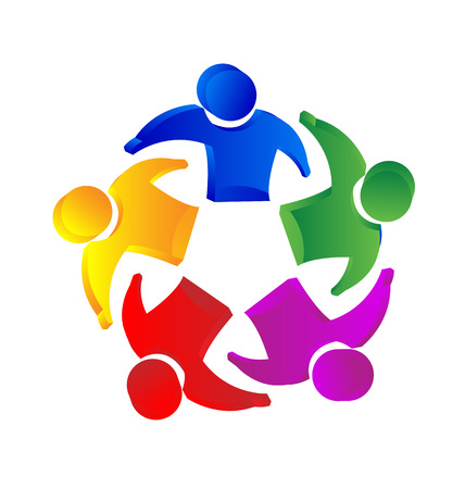 congresses: Teamwork 3D people unity concept icon vector
