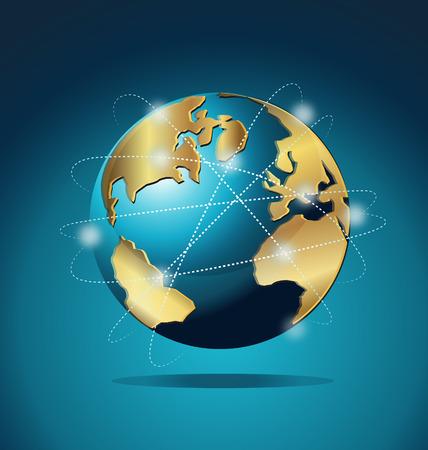 zeměkoule: Svět Global Commerce komunikační sítě Ilustrace