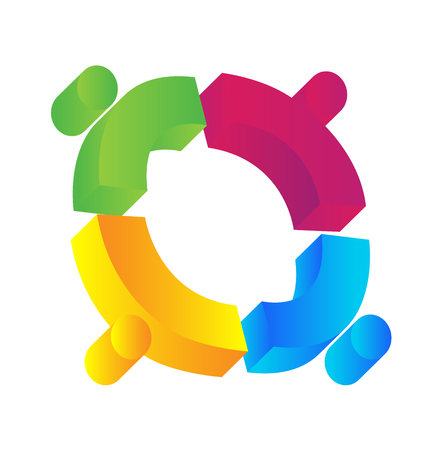 Teamwork 3D people union concept icon  Vector