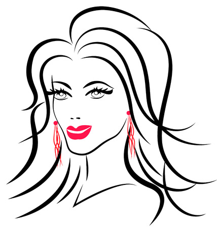 Beauty face fashion woman icon silhouette Vector
