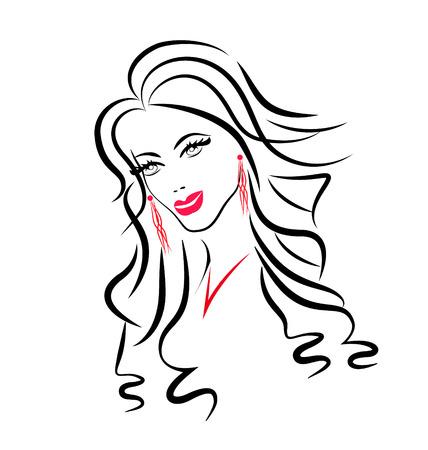 decorative lines: Cara del icono de silueta de mujer de belleza Vectores