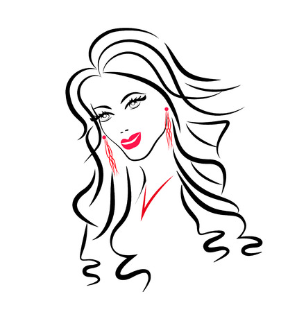 pretty eyes: Face of beauty woman silhouette icon