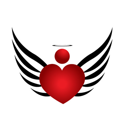 heart with wings: Heart Angel icon design illustration