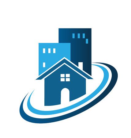 townhouses: Bienes ra�ces tarjeta de la empresa la identidad del icono del vector Vectores