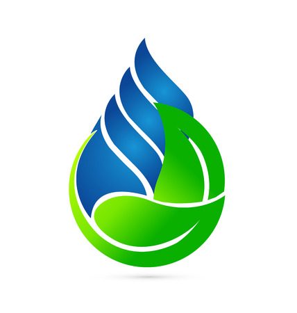 Water drop and green leafs Ecology concept icon Vector