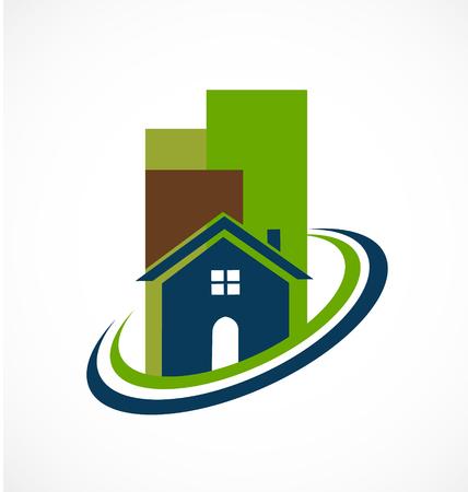 modern buildings: Les b�timents modernes pour l'immobilier ic�ne vecteur
