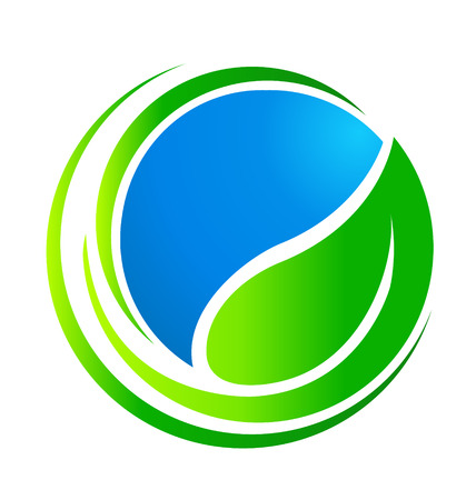 Leaf around world  Ecology concept vector icon