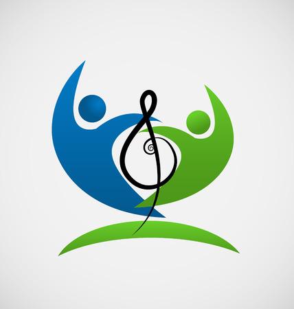 La gente del trabajo en equipo con la nota musical icono vector Ilustración de vector