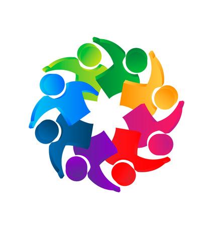 Teamwork 3D people leadership concept icon