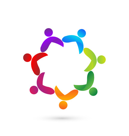 Teamwork meeting people identity card concept icon
