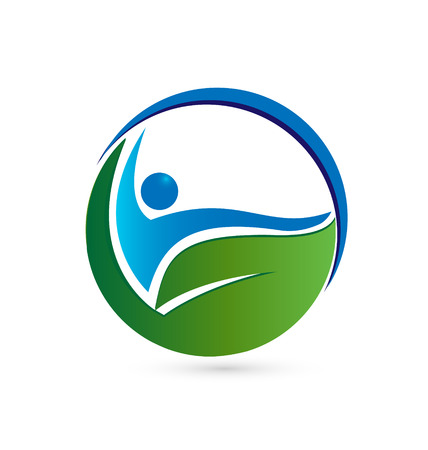 Healthy concept Leaf and person symbol icon