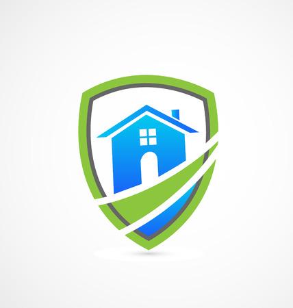 townhouses: Casas de bienes ra�ces icono de escudo verde Vectores