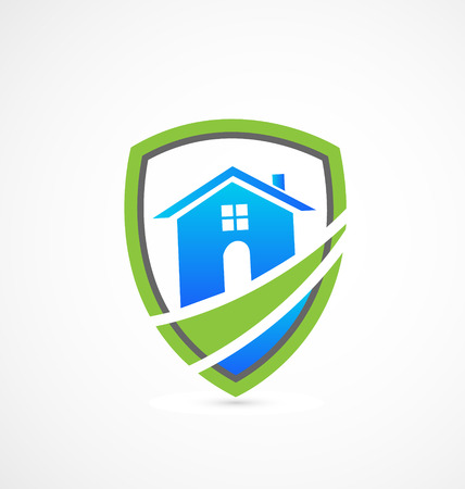 Houses real estate green shield icon Vector