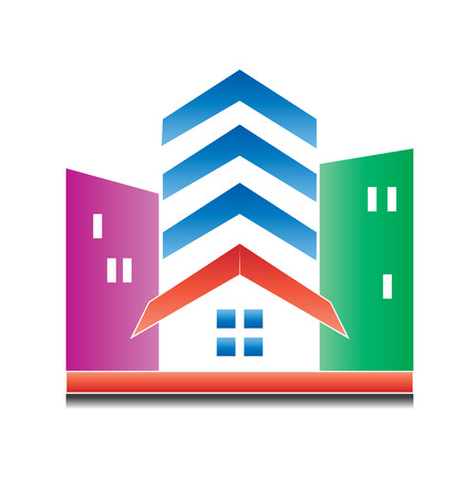 Real Estate Modern Buildings Icon Vector Vector