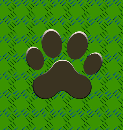 Paw print icon on green seamless background Vector