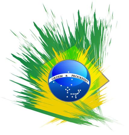digitally generated image: Brazil flag splash paint grunge icon