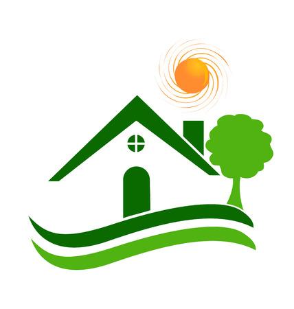 주택 나무와 태양 아이콘 벡터