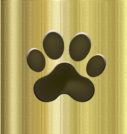 lion dog: Paw print icon on golden background