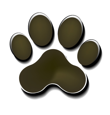 lion claw: Paw print isolated icon background Illustration