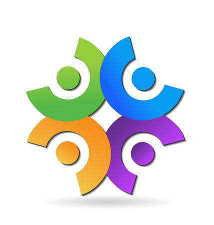 Teamwork networking people concept icon vector