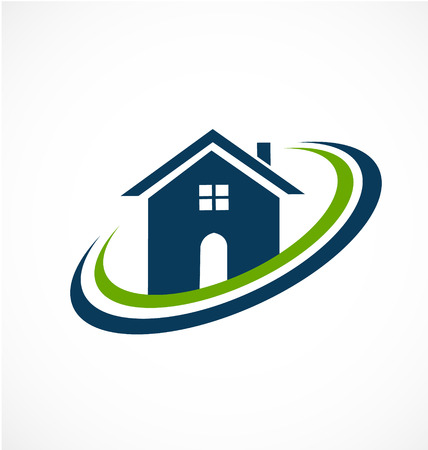 marcos redondos: Casa inmobiliaria icono de vectores