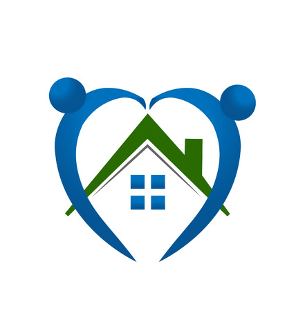 House and hearty people icon vector Vector