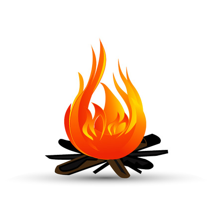 Hot firewood and flames icon Vector