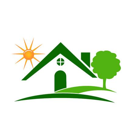 緑の不動産の家、木、太陽のアイコン ベクトル