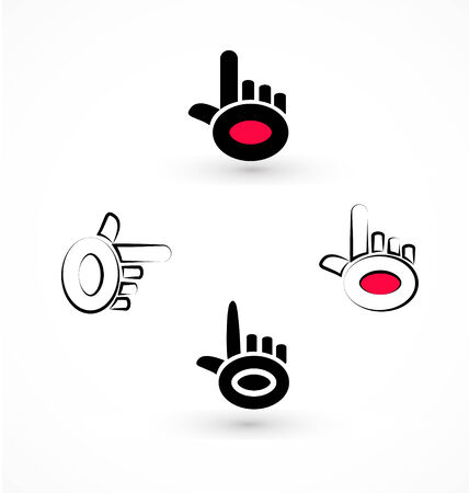 Set of black pointer hands icon vector Vector