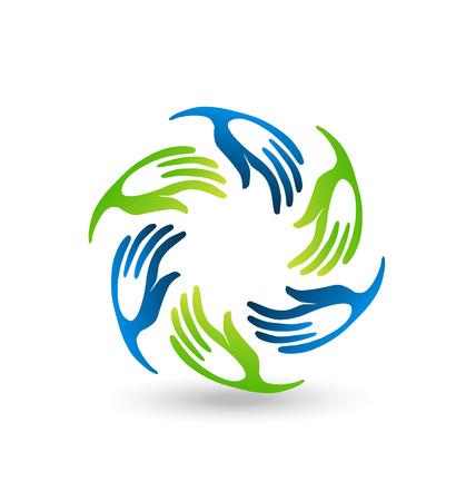 icone tonde: Vector icon Mani teamwork unione stilizzata