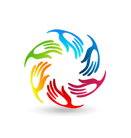 Hands teamwork union icon stylized colorful vector