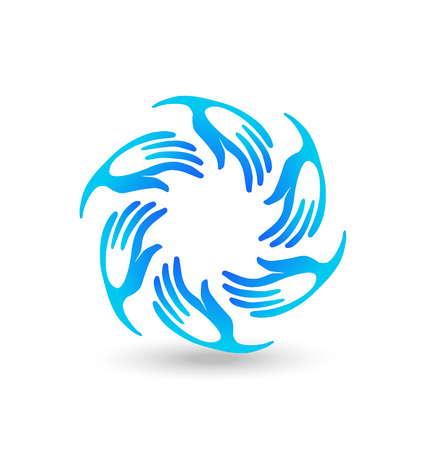 Hands blue teamwork union icon stylized vector Vector