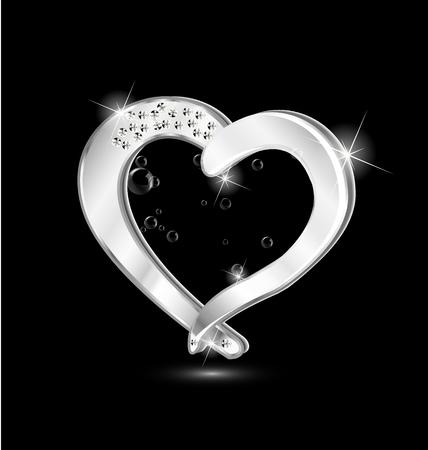 Heart jewelry swirly design icon vector Vector