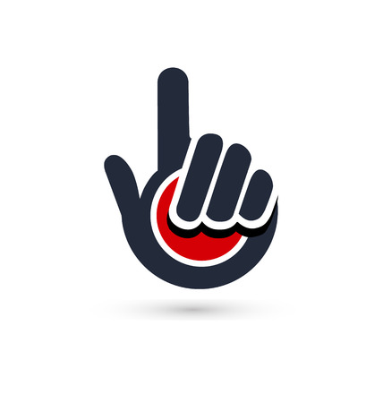 designated: Black pointer hand icon vector Illustration