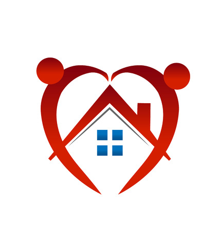 Heart shape people and house icon Vector