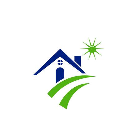 case moderne: Casa di sole e di icone di strada verde Vettoriali