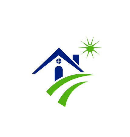 silhouette maison: Maison soleil et vert icône de la route Illustration