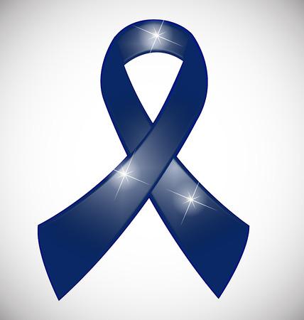Blue ribbon awareness symbol vector Illustration