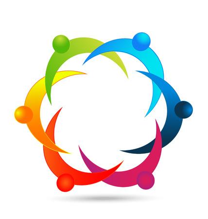 Teamwork diversity people icon vector  Illustration